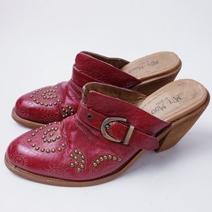 Miz Mooz Heeled Stud Heart Red Leather Clogs sz 38
